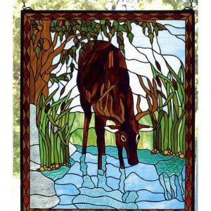 River Deer Tiffany Stained Glass Window Panel