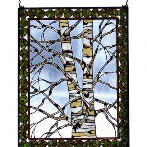 Birch Tree Tiffany Stained Glass Window Panel