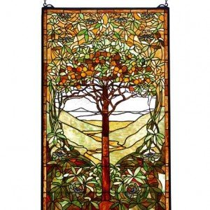Life Tree Tiffany Stained Glass Window Panel