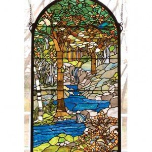 Water Brooks Tiffany Stained Glass Window Panel