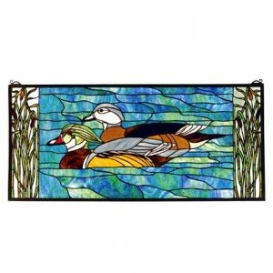 Wood Ducks Tiffany Stained Glass Window Panel