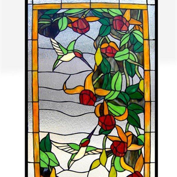 Flower Hummingbirds Tiffany Stained Gl Window Panel