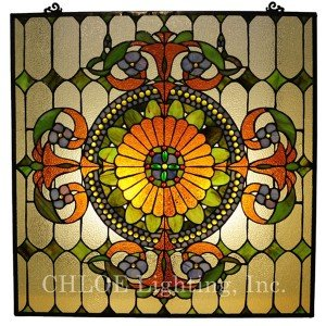 Green Tiffany Stained Glass Orange Window Panel