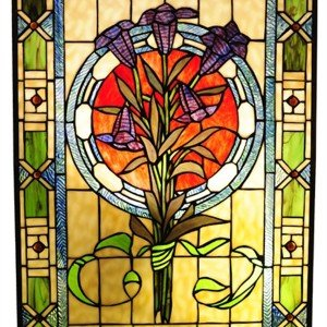 Tulips Tiffany Stained Glass Green Window Panel