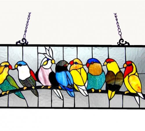 Multi Birdies Tiffany Stained Glass Window Panel