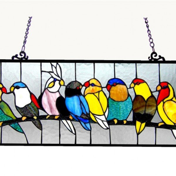 Colorful Birdies Tiffany Stained Glass Window Panel