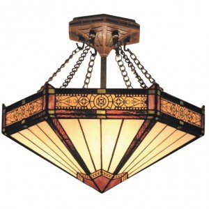 Filigree Tiffany Stained Glass Semi Flush Light