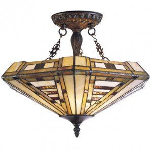 American Art Tiffany Stained Glass Semi Flush