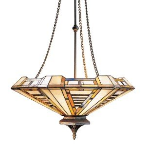 American Art Tiffany Stained Glass Pendant Light