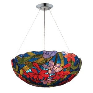 Red Impressionist Tiffany Stained Glass Pendant Light