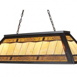 Filigree Metal Tiffany Stained Glass Billiard Light