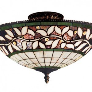 English Ivy Tiffany Stained Glass Semi Flush