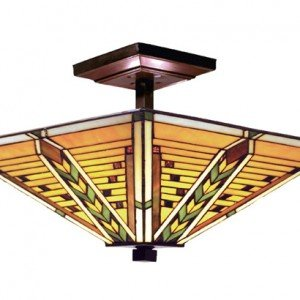 Arrowhead Tiffany Stained Glass Semi Flush