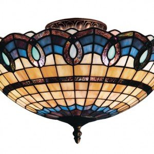 Victorian Ribbon Tiffany Stained Glass Semi Flush