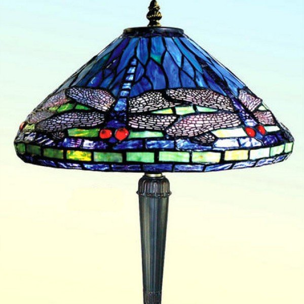Blue Dragonfly Tiffany Stained Glass Table Lamp