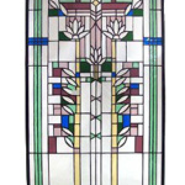 Lotus Flowered Tiffany Stained Glass Window Panel