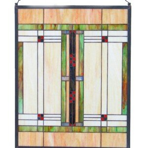 Craftsman Style Tiffany Stained Glass Window Panel