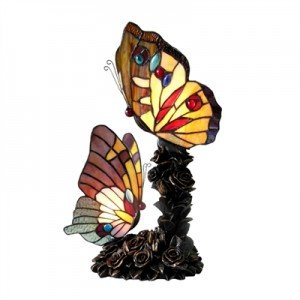 Two Butterfly Tiffany Stained Glass Accent Lamp