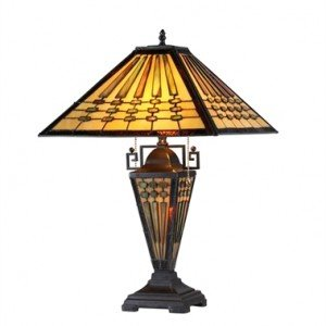 Tiffany Stained Glass Mission Style Table Lamp