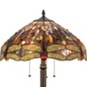 Victorian Tiffany Stained Glass Dragonfly Floor Lamp