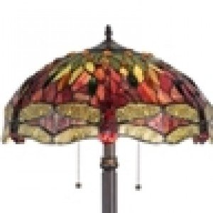 Red Dragonfly Tiffany Stained Glass Floor Lamp
