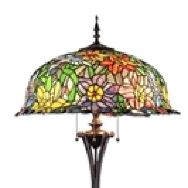 Colorful Floral Tiffany Stained Glass Floor Lamp