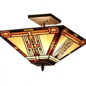 Mission Style Tiffany Stained Glass Semi Flush