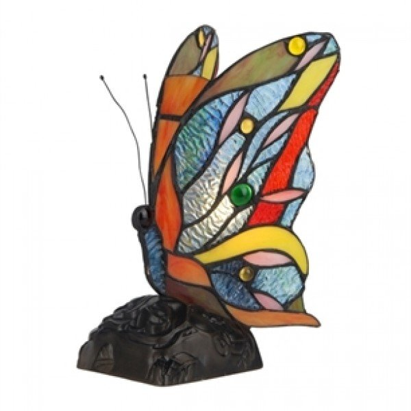 Colorful Butterfly Tiffany Stained Glass Accent Lamp