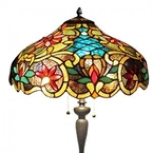Victorian Tiffany Stained Glass Floral Floor Lamp