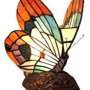Orange Butterfly Tiffany Stained Glass Accent Lamp