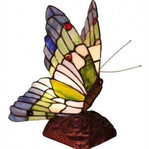 Plum Butterfly Tiffany Stained Glass Accent Lamp