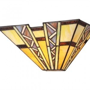 Handsome Mission Style Tiffany Stained Glass Sconce