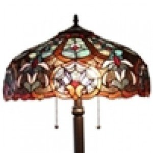 Victorian Tiffany Stained Glass Blue Floor Lamp