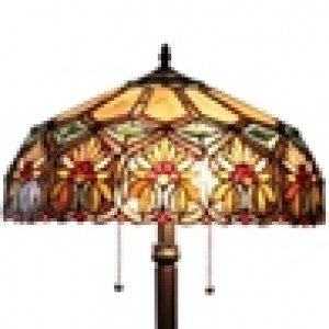 Yellow Floral Tiffany Stained Glass Floor Lamp