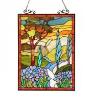 Lush Landscape Tiffany Stained Glass Window Panel
