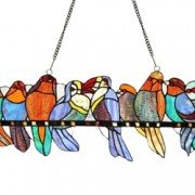 Colorful Variety Birds Stained Glass Window Panel