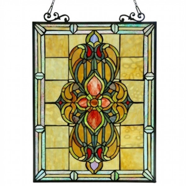 Handsome Tiffany Stained Glass Victorian Window Panel
