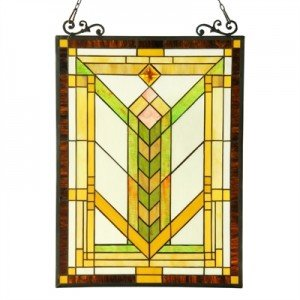 Yellow Mission Style Stained Glass Window Panel