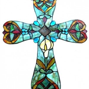 Cross Shaped Tiffany Stained Glass Window Panel