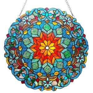 Blossom Tiffany Stained Glass Round Window Panel