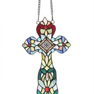 Tiffany Stained Glass Cross Jeweled Window Panel