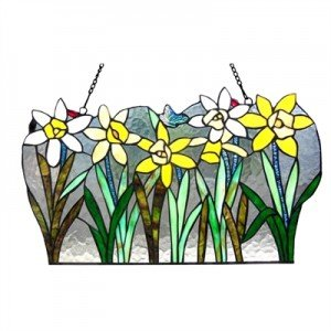 Tulip Flowers Tiffany Stained Glass Window Panel
