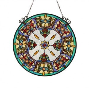 Tiffany Stained Glass Round Victorian Window Panel
