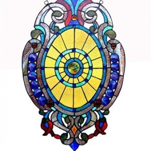 Shield Shaped Tiffany Stained Glass Window Panel