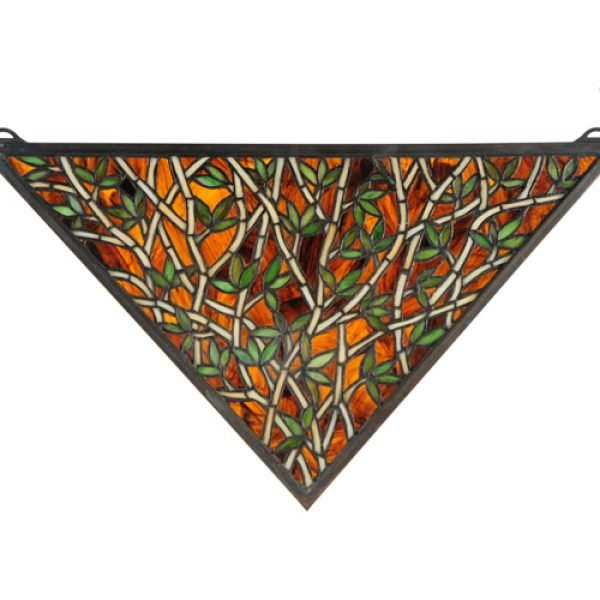 Bamboo Triangular Tiffany Stained Glass Window Panel