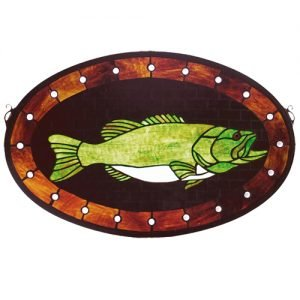 Bass Plaque Tiffany Stained Glass Window Panel