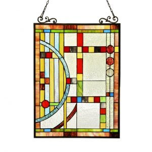 Braque Geometrical Tiffany Stained Glass Window Panel