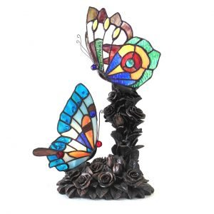 Edith 2 Butterfly Stained Glass Accent Lamp