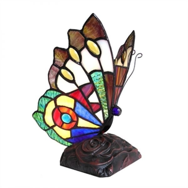 Kacy 7 Butterfly Stained Glass Accent Lamp