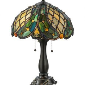 Capolavoro Jeweled Tiffany Stained Glass Table Lamp